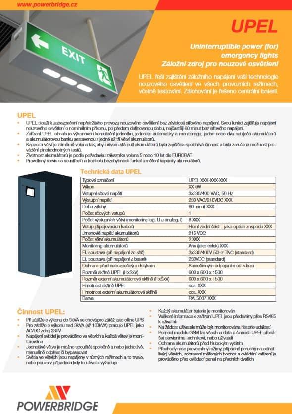 Katalog záložní zdroj pro nouzové osvětlení UPEL.