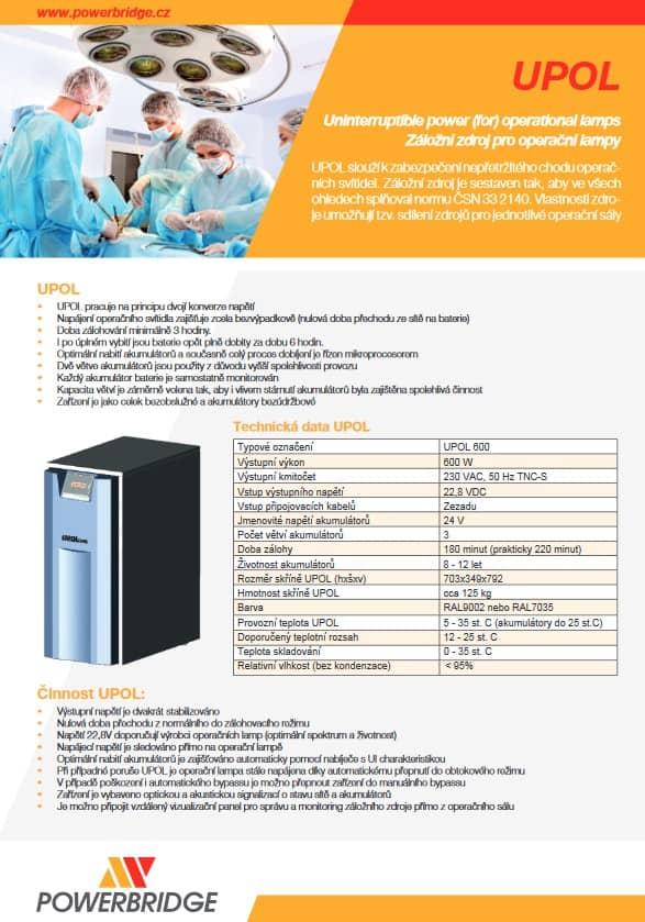 Katalog záložní zdroj pro operační lampy UPOL.