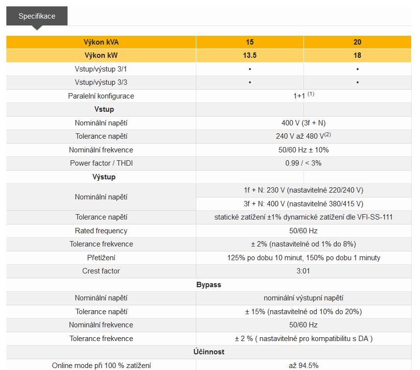 UPS Masterys BC - specifikace