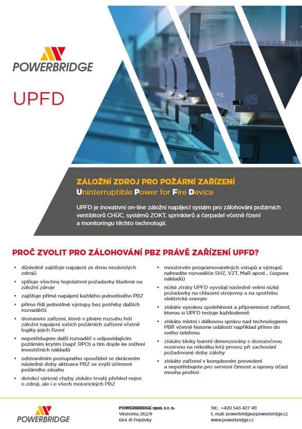 Katalog záložní zdroj pro požární zařízení UPFD.